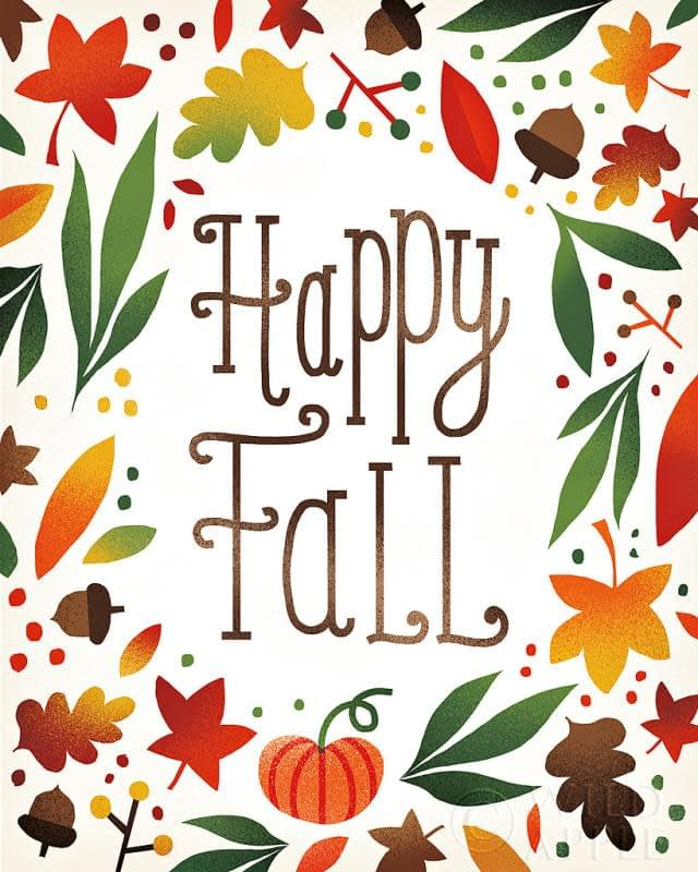 Happy Fall Graphic Image of Leaves and the words Happy Fall * Bass Lake Realty
